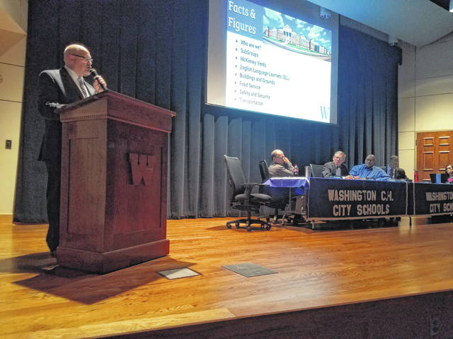 "Tom Bailey, Washington Court House City Schools Superintendent, and the board of education presented the first ""State of the District"" on Monday evening at Liberty Hall in front of a crowd of residents."