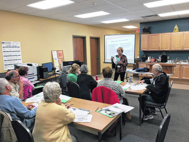 Fayette County Board of Elections Director Beth Ann Snyder provided training to local poll workers on Tuesday.