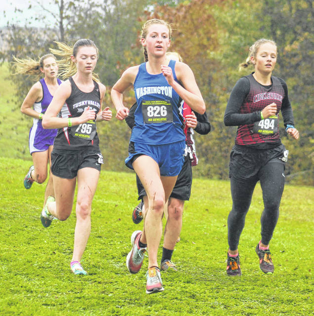Washington High School sophomore Cloe Copas (826) competes in the Division II Regional cross country tournament Saturday, Oct. 27, 2018 at Pickerington North High School.