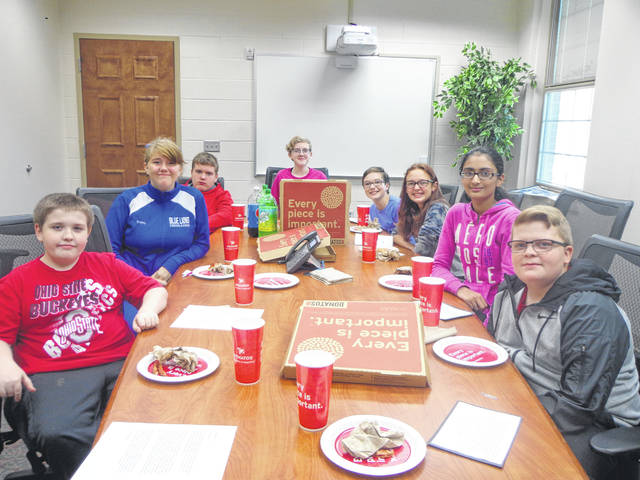 "Donatos recently provided pizza to these students at Washington Middle School as they celebrated ""Pizza with the Principals."" This is in appreciation for their selection as ""Students of the Month"" for September. They are chosen by their teachers because of the outstanding example they set for their peers in such areas as academic effort, good work ethic, kindness to others, and service to their school. Pictured (L to R): Andrew Whitt, Hayley Adams, Allen Penwell, Ella Watson, Abby Rose, Marly Paul, Siddhi Patel and Ryan Crowe."