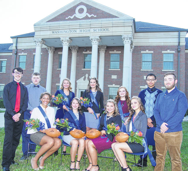 The 2018 Washington High School homecoming court was introduced on Wednesday evening at the school. From left to right, front row: king candidate Levi Thompson, queen candidate Hannah Haithcock, queen candidate Ali Evans, queen candidate Haley Hixson, queen candidate Kieara Hites, king candidate Bailey Roberts; back row (left to right) king candidate Dylan Koutz, freshman attendant Kassidy Olsson, sophomore attendant Rachel Palmer, junior attendant Brooklynn Stanley and king candidate Ray Dublin. The queen and king will be named prior to the Blue Lions' homecoming football game Friday night. Look inside for more coverage of homecoming festivities.
