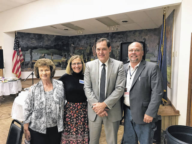 The Fayette County Democrats held their fall dinner on Tuesday at the American Legion Post 25. Pictured are Judy Craig, Fayette County Democratic executive committee chairperson, Beth Workman, candidate for State House of Representatives, 92nd District, Zack Space, candidate for Auditor of State, and Scott Dailey, candidate for State Senator, 17th District.