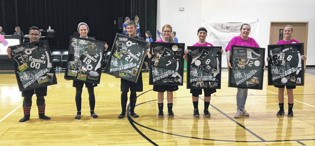 Fayette Christian School soccer and volleyball seniors were recognzied at the school Friday, Oct. 12, 2018. (l-r); Sam Sheeter, Spencer Hanusik, Michael Miller, Jenna Sams, Macie Riley, Grace Ernst and Taylor Brown.