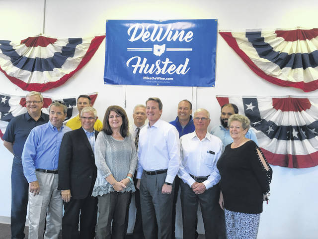 Republican candidate for Ohio Lieutenant Governor Jon Husted spoke Thursday at the Fayette County Republican headquarters. Front row L-R County Commissioner Tony Anderson, State Representative Gary Scherer, candidate for auditor Brenda Mossbarger, Ohio Secretary of State and candidate for lieutenant governor Jon Husted, candidate for county commissioner Jim Garland, and Recorder Cathy Templin; Back Row L-R: County Commissioner Dan Dean, County Engineer Steve Luebbe, Judge David Bender, State Senator Bob Peterson, and Prosecutor Jess Weade