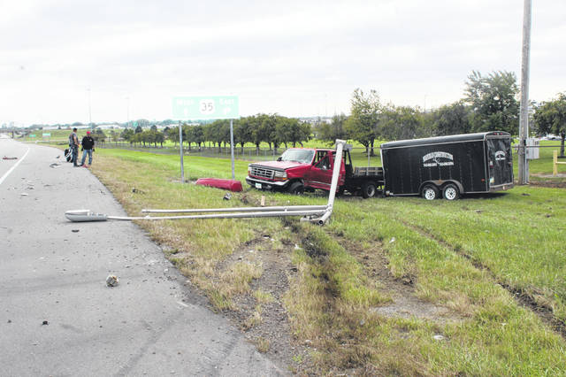 The truck involved in Thursday's accident hit a light pole during the crash. The passenger in the truck was taken to Fayette County Memorial Hospital for treatment.