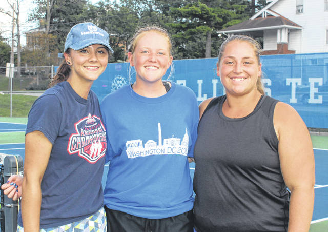 This trio of tennis players from Washington High School will be competing in the District meet at Ohio University on Wednesday. (l-r); Megan Downing (singles), and Sydnie Hall and Bethany Wilt (doubles).
