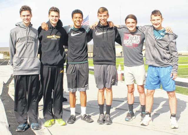 Miami Trace Panthers preparing for Regional cross country meet — (l-r); Simon DeBruin, Henry DeBruin, Caleb Brannigan, Bo Little, Mcale Callahan and Connor Bucher. Not pictured: Joathem Lewis.