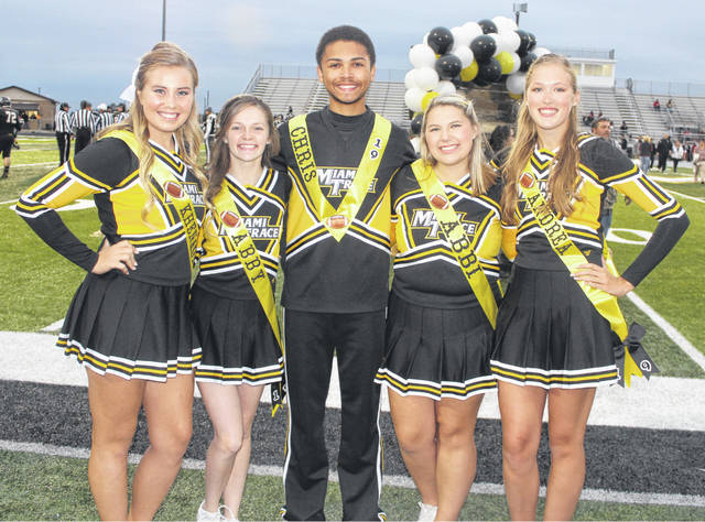 Miami Trace saluted its senior football cheerleaders before taking on the Hillsboro Indians in the final home game of the season Friday, Oct. 19, 2018. (l-r); Khenadi Grubb, Abby Riley, Chris Walker, Abbi Pettit and Andrea Robinson.