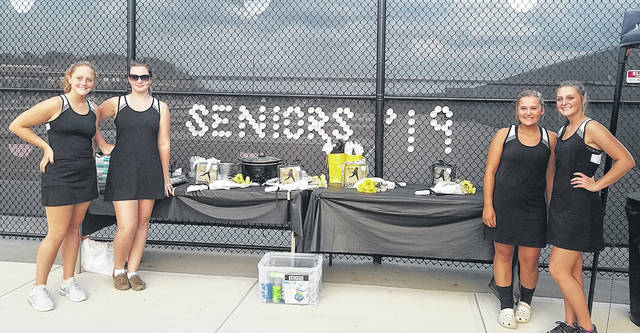 Miami Trace tennis seniors (above) were recognized prior to the match against Jackson Monday, Oct. 1, 2018. (l-r); Jessica Camp, Hannah Clemons, Breanna Eick and Callynne Cockerill.