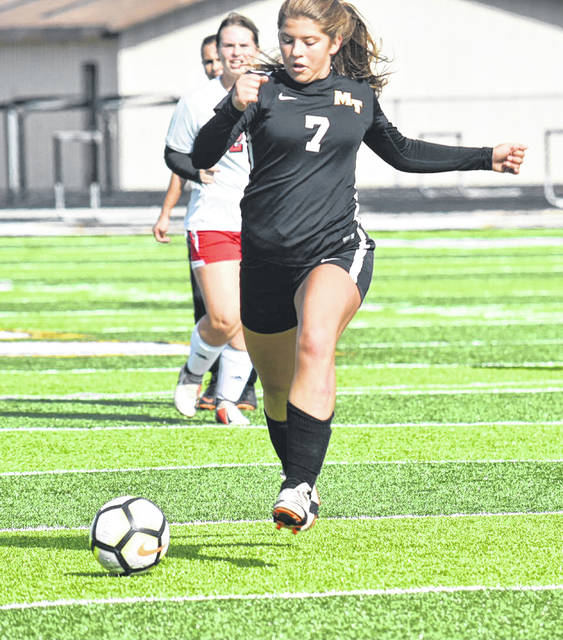 Tori Morrison (7) advances the ball up the field for Miami Trace during a Division II Sectional championship game against Circleville Saturday, Oct. 20, 2018 at Miami Trace High School.