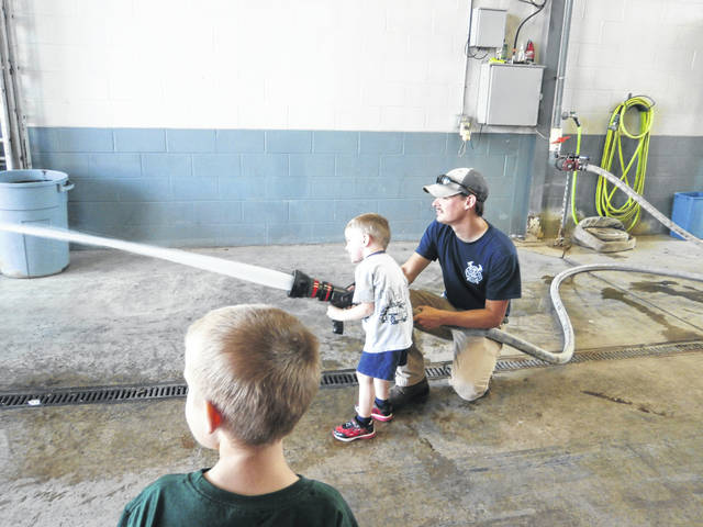 Braden got the opportunity to spray the hose while at the firehouse.