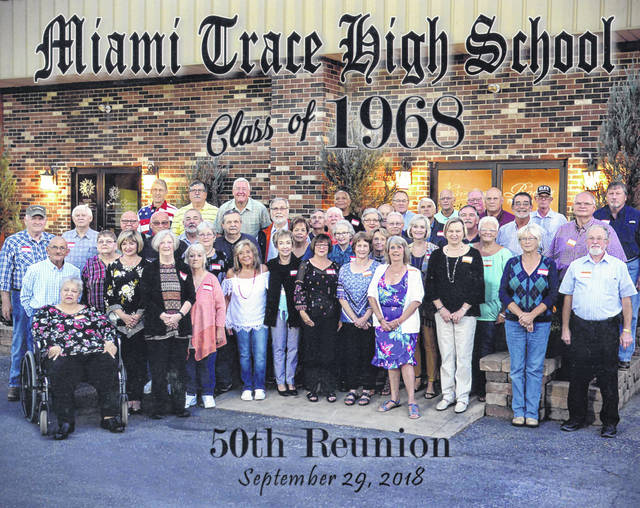 The Miami Trace High School Class of 1968 recently held its 50th reunion. On Sept. 28 the group attended the homecoming game at Miami Trace and were honored at halftime. On Sept. 29, the group celebrated 50 years at the Crown Room in Washington C.H. A crowd of 45 classmates plus significant others enjoyed food, fellowship, and catching up with old friends. Out-of-state class members came from California, Colorado, Florida, Illinois, Kentucky, West Virginia and North Carolina.