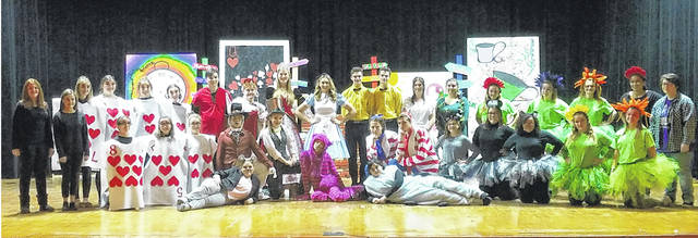 """The cast and crew of the Miami Trace High School production """"Alice in Wonderland"""" are inviting the community to join them on Nov. 16 and 17 at 7 p.m. and on Nov. 18 at 2 p.m. for the annual fall play. Pictured are the members of the cast and crew at a recent dress rehearsal."""