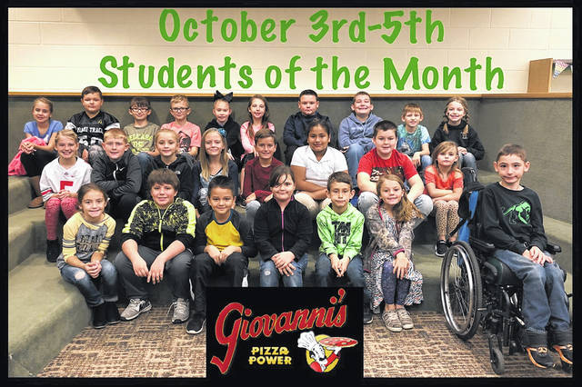 The third through fifth grade students of the month were (L to R): front row: Olivia Leisure, Keegan Houser, Charlie Anderson, Patience Green, Levi Griffin, Skylar Carlsgaard and James Bethel. Middle row: Kyndall Morris, Gavin Cottrill, Cali Connell, Makenna Baker, Landon Puckett, Brenda Utrera Sanchez, Keanan Barthelmes and Kiera Leach. Back row: Chloe Gardner, Cole Whiteside, Tyler Winterbotham, Westley McGuire, Ava Crank, Gabbie Thoroman, Nic Lindsey, Logan Payton, Jeremiah Green and Kaylen Pavey.