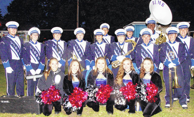Washington Blue Lion marching band seniors are pictured at a game during the 2018 season; (front, l-r); Kieara Hites, Ali Evans, Haley Hixson, Amanda Kelly, Raven Haithcock; (middle, l-r); Jarred Hall, Morgan Myers, Grace Gerber, Christina Luebbe, Kassidy Hines, Chaylie Bartruff, Connor Lane, Joey Pickelheimer; (back, l-r); Hunter Hamilton, Kyler Runk, Blaise Tayese and Jaxson Singleton.