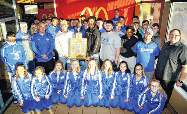 The Washington Blue Lions will retain possession of the McDonald's traveling trophy after a 34-7 win over Miami Trace on Oct. 26, 2018. Team members and cheerleaders were treated to breakfast at the Jeffersonville McDonald's Saturday, Nov. 3, 2018.