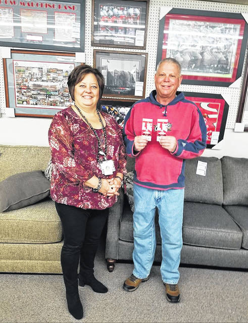 The FCMH Foundation was pleased to announce recently that Randy Kirkpatrick of New Holland won this year's raffle for pair of tickets to this past weekend's rivalry game between The Ohio State University and Michigan. The tickets were donated by FCMH Foundation Board member Norma Kirby and her husband Mitch. Thanks to the donation, the Foundation was able to raise nearly $2,000 in raffle ticket sales. Pictured is FCMH Foundation Executive Director Whitney Gentry and raffle winner Randy Kirkpatrick.