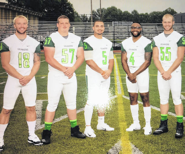 Wilmington College honored its five football seniors Saturday, Nov. 10, 2018 prior to the game against Otterbein. (l-r); Zach Zurface, Saul Boysel, Malik Pettiford, Gino Hinton and Kyle Ackley.