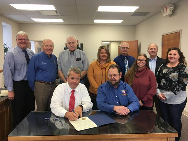 On Monday, the Fayette County Commissioners signed a proclamation recognizing the 100th anniversary of the end of World War I. Front Row L-R: Tony Anderson and Eddie Wynne; Second Row L-R: Dan Dean, Eddie Fisher, Robert Malone, Walorie Morton, Tasha Harris, and Amy Jackson; and Back Row L-R: Jack Deweese and Paul LaRue.