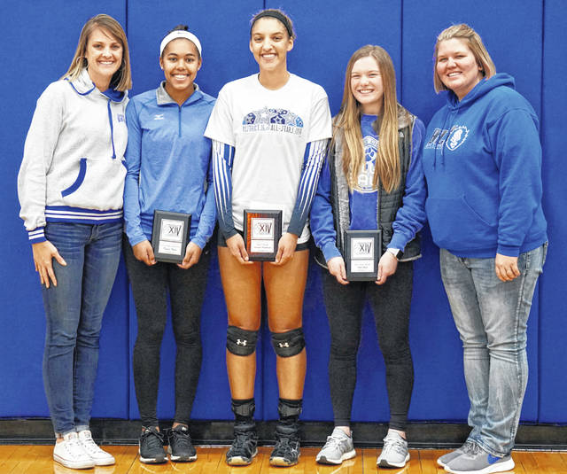 A trio of Washington Lady Blue Lion volleyball players were recently honored by the coaches in District 14. (l-r); assistant coach Angie Haithcock, Rayana Burns, Honorable Mention, All-District; Hannah Haithcock, First Team, All-District; Halli Wall, Second Team, All-District and Washington's head coach, Ashley DeAtley.
