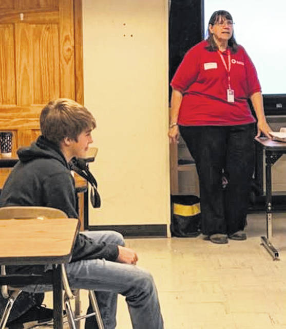 Linda Hamilton, volunteer with the American Red Cross, spoke with sophomore, junior and senior members of the Miami Trace FFA about the variety of endeavors the Red Cross assists with in the local community. Members learned about opportunities to become an American Red Cross volunteer outside of donating blood.