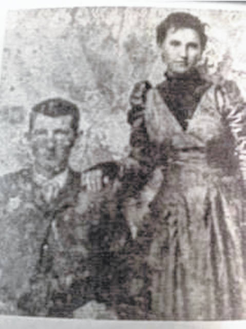 James Hiram Massie and Letha Adrian Spears on their wedding day on March 16, 1893 in Lawrence County, Ohio.