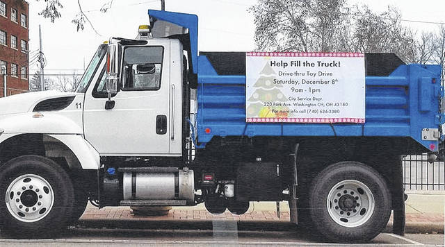 This truck will be parked at the city service department on Dec. 8 for the city's first drive-thru toy drive.