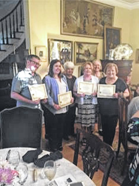 Recent Linage inductees include: left to right, Century Family Chad White, Heather White, Linage Committee Member Peggy Lester, Century Family Cathy Massie White, Rena Beth Higman, and Sue Gilmore. Not pictured are First Family Danny Gilmore and Civil War Family Kitturah Westenhouser.