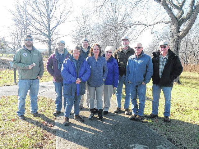 Several local residents participated in the latest Fayette County Bird Count. Front row, Sara Creamer, Brigitte Hisey, Carolyn and Jack DeWeese, Pat Ernst, back row, Malcolm Miller, Duane Troyer, Moses Schwartz and Bruce Willis. Not pictured are Don Creamer and Linda Hamilton.