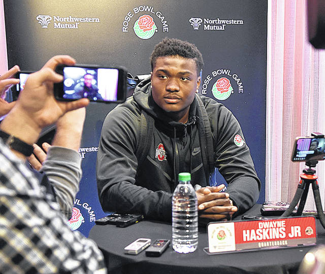 Ohio State quarterback Dwayne Haskins speaks with the media Saturday, Dec. 29, 2018 with the Rose Bowl against Washington three days away.