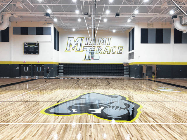 The opening dedication and the start of move-in for the new Miami Trace High School is just a few weeks away and the district is inviting the community to join them in the last few stages. Pictured is the gym floor in the new Miami Trace High School from a recent update by the district.