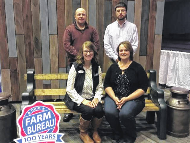 Members of the Fayette County Farm Bureau served as delegates to the 2018 Ohio Farm Bureau annual meeting. They participated in policy sessions that directed the organization's activities for the coming year. Back row from left to right are John Jones, Ike Garland, and front row are Brandi Montgomery and Taylor Jones. To learn more about OFBF's priority issues, visit OFBF.org.