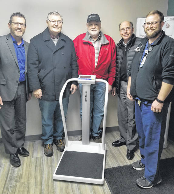 This scale was recently donated by the FCMH Foundation to the emergency department. From left are: Mike Diener, FCMH CEO, Foundation board members Ron Ratliff, Gary Butts and Rob Herron, and Corey Huffman, FCMH emergency department leader.