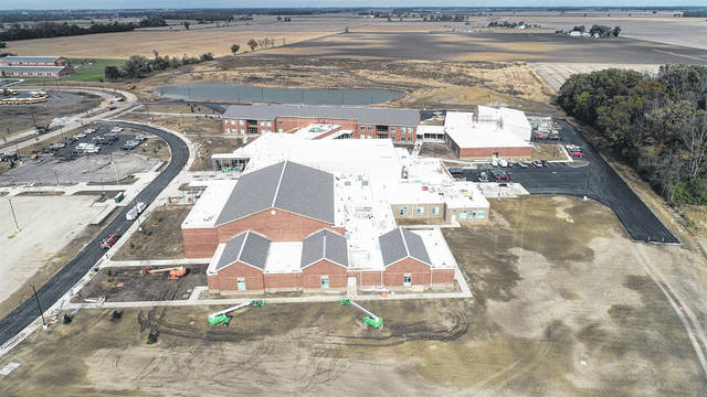 An aerial shot of the new Miami Trace High School. A dedication/open house is scheduled for this Sunday at the new school gymnasium.