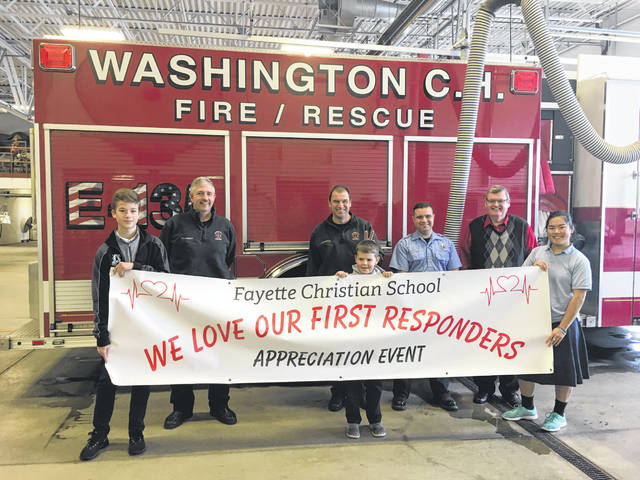 "On Feb. 14, Fayette Christian School is hosting a ""We Love Our First Responders Appreciation Luncheon."" From left to right, FCS student Nate Crichton, firefighter Jody Langley, Lt. Martin Rennison, FCS student Andrew Peterson, firefighter Stephen Yeoman, FCS principal Larry Fitch and FCS student Grace Sheeter."