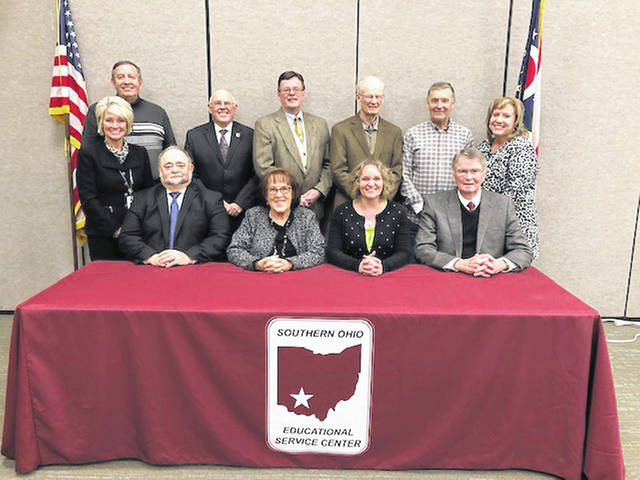 The Southern Ohio Educational Service Center held its re-organizational meeting on Jan. 22. Newly-elected officers Martha Gausman, president, and Jim Luck, vice president, as well as members Roy Hill, Dennis Mount, Rich Peck, Corky Wilt, Roger West, Chrissy Charters and Rod Lane will lead the organization in 2019. Back row: Roy Hill, Member; Jim Luck, Vice President; Dennis Mount, Member; Richard Peck, Member; Corky Wilt, Member; Rachel Meyer, Treasurer. Front Row: Beth Justice, Superintendent; Roger West, Member; Martha Gausman, President; Chrissy Charters, Member; Rod West, Member