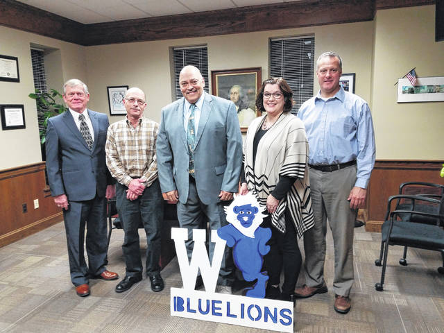 The Washington Court House City Schools Board of Education held its re-organizational meeting Monday where Ken Upthegrove and Jennifer Lynch were appointed president and vice president respectively by the board. Pictured (L to R): Jim Teeters, Mark Chrisman, President Ken Upthegrove, Vice-president Jennifer Lynch and Craig Copas.
