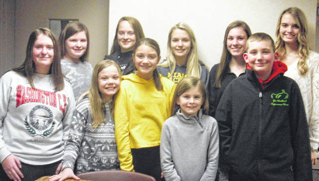 All-N-One elected its officers for 2019 from top left to bottom right, news reporter Mary Gerber, treasurer Peyton Johnson, historian Katy Kotlinski, secretary Abby Arledge, president Madison Johnson, vice president Hidy Kirkpatrick, safety officer Alora Self, health officer Karlee Johnson, environmental officer Leah Marine and community service officer Logan Payton.