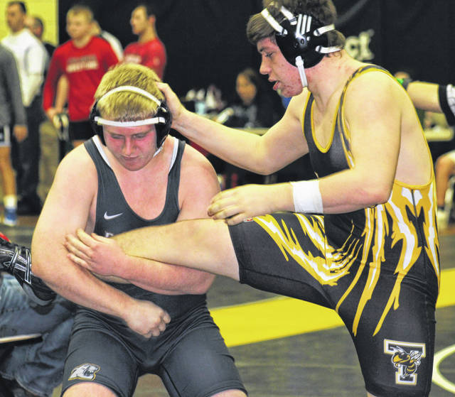 David Tyndall of Miami Trace raises the leg of his opponent at 195-pound match Saturday, Jan. 26, 2019 at the Miami Trace/McDonald's Invitational, the final wrestling tournament in the Panther Pit.