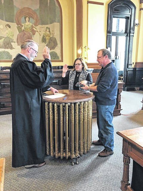 Sandy Wilson was recently sworn in as Fayette County Clerk of Courts by Common Pleas Court Judge Steven Beathard. Wilson was accompanied by her husband, Jim. Wilson is filling Evelyn Pentzer's unexpired term ending Jan. 3, 2021.
