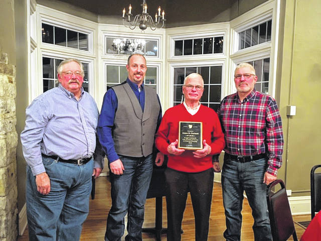 The Fayette County Township Association's annual winter meeting was held Jan. 10. The outgoing president, Fayette County Commissioner Jim Garland (second from right), was honored for his service, and the incoming president, Marion Township Trustee Cody Kirkpatrick (second from left), was welcomed. Also pictured are (far left) Ted Waddle, Concord Township Trustee, and (far right) Keith Montgomery, Concord Township Trustee.