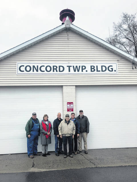 Thanks to the efforts of multiple volunteers and donors, the Village of Staunton recently received a new emergency weather siren to replace the old red siren on top of the Concord Township building. Pictured (L to R): Concord Township Trustee Ted Waddle, Concord Township Fiscal Officer Bridget Sollars, Concord Green Volunteer Fire Department Chief Ralph Stegbauer, Ron Rockhold, Fayette County Commissioner Jim Garland and Concord Township Trustee Keith Montgomery.
