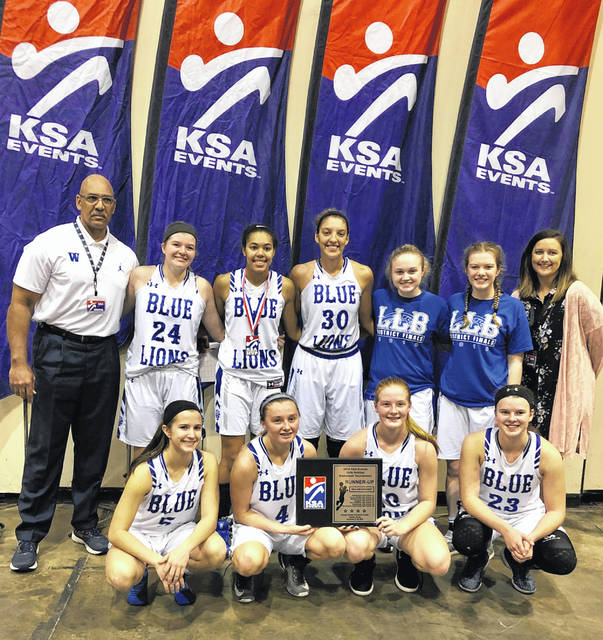 The Washington Lady Blue Lion basketball team is pictured after their final game in Flordia, Saturday, Dec. 29, 2018. (front, l-r); Kassidy Hines, Bre Taylor, Tabby Woods, Shawna Conger; (standing, l-r); assistant coach Mychal Turner, Maddy Jenkins, Rayana Burns, Hannah Haithcock, Abby Tackage, Halli Wall and head coach Samantha Leach.