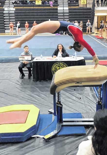 Lizzy Valentine of Greeneview competes in the vault at Centerville, Saturday, Jan. 26, 2019.