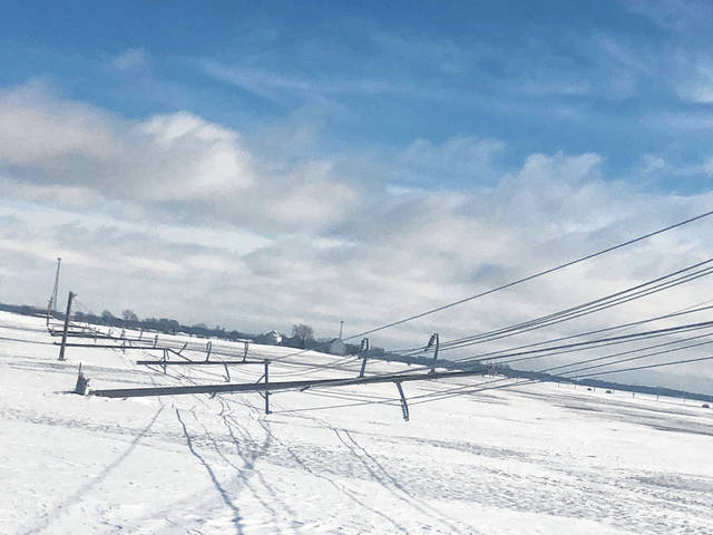 According to Fayette County Commissioner Jim Garland and Dayton, Power and Light (DP&L), 33 poles fell in the county on Saturday night following the heavy wind, ice and snow that fell. DP&L reported that within 24 hours, the roughly 4,000 customers without power were restored, leaving only two mid-Monday afternoon still without power in the county.