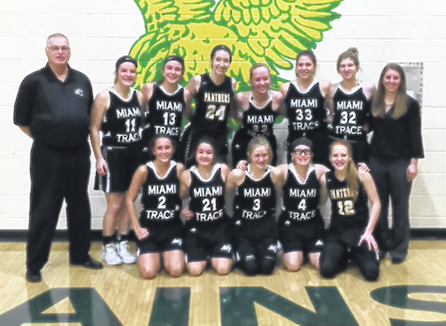 The Miami Trace junior-varsity girls basketball team won the 2018 McDonald's Holiday Basketball Tournament championship, held at Madison Plains High School with a win over Greeneview on Dec. 27 and a victory over London on Dec. 29. (front, l-r); Reagan Barton, Mallory Pavey, Emma Pitstick, Makayla Barnes, Magarah Bloom; (back, l-r); Coach Randy Rodgers, Sidney Payton, Libby Aleshire, Aubrey Wood, Lilly Workman, Julianne Stevenson, Samantha Sever and Coach Kayla Dettwiller.