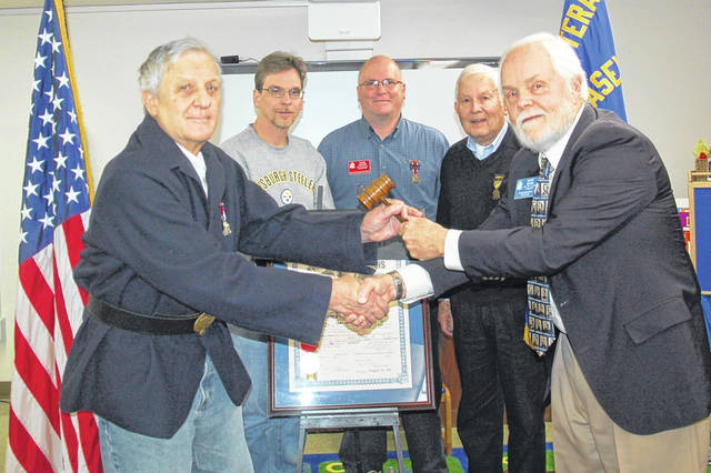 Henry Casey Camp No. 92 Sons of Union Veterans of the Civil War recently elected and installed officers for the year 2019. The installing officer (right) Dennis Brown, Ohio Department Chief of Staff, presents the presiding officers gavel to newly installed camp commander Terrance Thevenin. Other officers pictured (left to right) are: Shawn A. Cox, historian; Shane L. Milburn, secretary, and Robert E. Grim, treasurer.