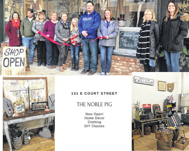 The Fayette County Chamber of Commerce Ambassadors recently cut the celebratory ribbon at The Noble Pig, 131 E. Court St. in Washington C.H. Formerly The Village Homestead, Jeremy and Erica Cawley have a new name and new address. This building, beautifully restored by Christy Larrick and Ben Snodgrass, allows the Cawley family more room for merchandise, as well as a space for classes. Clothing, paint supplies, furniture, décor, coffee, and so much more! Follow The Noble Pig on Facebook and be sure to stop in and support a family that is investing in Fayette County.