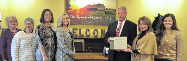 The Fayette County Chamber of Commerce recently presented a 5-Year Business Award to the Ranch of Opportunity.