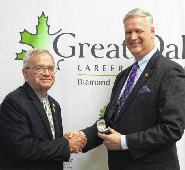Ron Friend, Fairfield Local School Board member, was honored on Jan. 9 at Great Oaks Career Campuses for 20 years of service on the Great Oaks Career Campuses Board of Directors. He has held a variety of leadership roles on the Great Oaks Board, including serving as chairperson in 2015 and 2016. Pictured are Friend (left) with Harry Snyder, Great Oaks president/CEO.